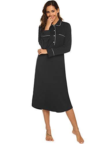 Jersey Nightshirt - Ekouaer Women's Long Sleeves Cotton Nightgown Scoop Neck Full Length Sleep Dress,Black,XX-Large