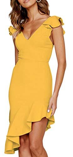Longwu Women's Sexy Irregular Sleeveless V Neck Bodycon Party Night Out Ruffle Midi Dress Yellow-M