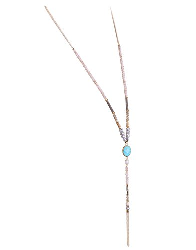 KELITCH Pearl Crystal Beaded Necklace Tassel Gems Pendant Statement Long Necklace for Women (Blue)