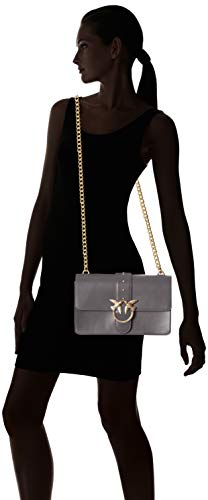 Pinko Simply Women's Seta Grey 5 Corvo Grigio Vitello Love Tracolla Shoulder Bag Eqqgr