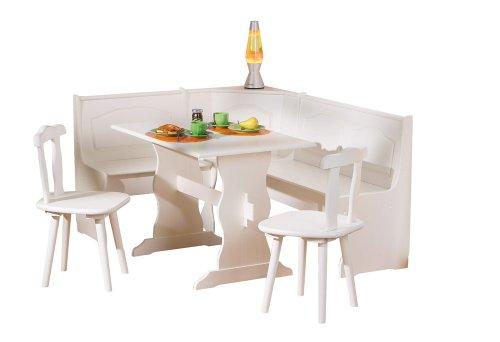 Links 20900140 Eckbank weiß Eckbankgruppe Bank Esstisch 2 Stühle Kiefer massiv Landhaus Küche