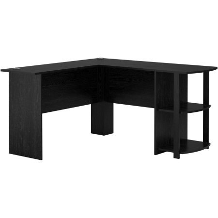 - Wooden L-Shaped Desk with Large Workspace with Side Storage for Easy Access of Materials, Multiple Finishes (L: 53.62 x W: 51.31 x H: 28.31 in) (Black Ebony Ash)