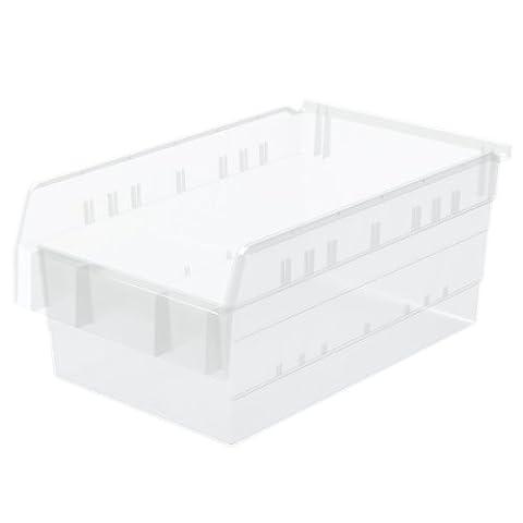 Akro-Mils 30808 ShelfMax 8 Plastic Nesting Shelf Bin Box, 18-Inch x 11-Inch x 8-Inch, Clear, 4-Pack