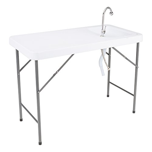 """Norwood Commercial Furniture Folding Portable Fish Fillet/Hunting/Cutting Gardening Table with Sink and Faucet, 46"""" W x 24"""" D x 34"""" H, NOR-WOB2446-SO"""