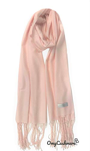 (100% Cashmere Shawl Scarf Travel Wrap Stole Lightweight Tissue Weight Extra Large Solid Color with Gift Box (Pastel Pink))