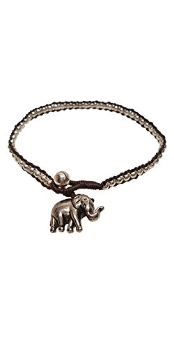 et Woven Round Silver Bead and Elephant Anklet Bracelet 10 Inches Woven with Brown Wax Cord Handmade Hippie Bohemian Style ()