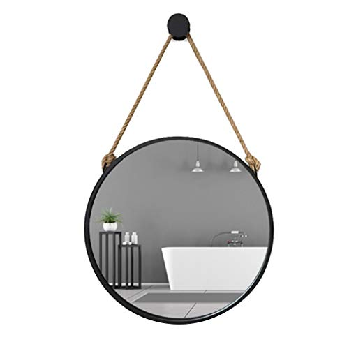 Home warehouse Wall Mirror, Retro Iron Art Hemp Rope Hanging Mirror Toilet -