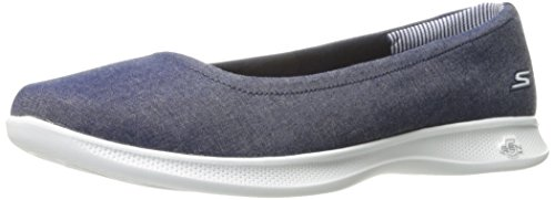 Skechers Performance Women's Go Step Lite-Lily Walking Shoe,Denim,8.5 M (Athletic Ballet Flats)
