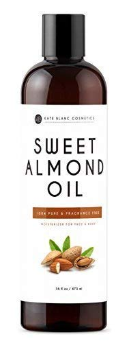 Sweet Almond Oil 16oz by Kate Blanc. 100% Pure, Cold Pressed, Hexane Free. Ideal for Face, Skin, Hair. Great as Massage Oil, Aromatherapy, and Carrier Oil. Smoother Skin, Softer Hair. 1-Year Guarantee (Best Oil For Perineal Massage)