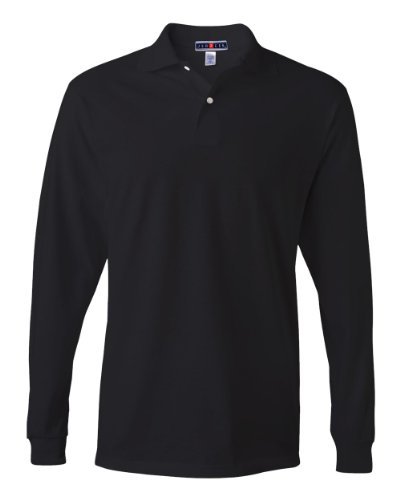Jerzees 5.6 oz. 50/50 Long-Sleeve Jersey Polo with SpotShield (437ML) Black, 2XL