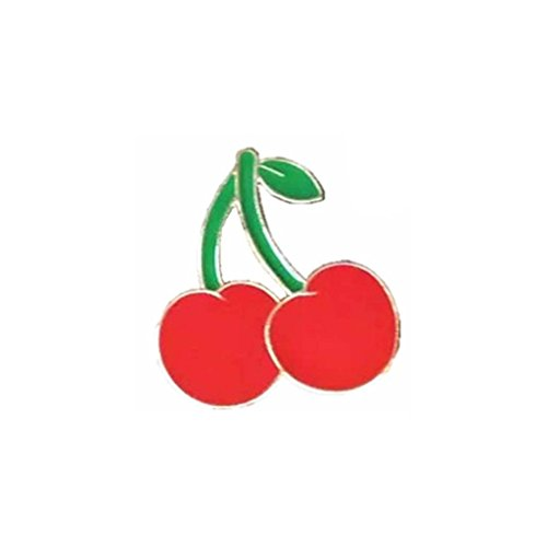 Souarts Womens 3D Enamel Brooch Pin Badge for Clothes Bags Backpacks Lapel Pin (Cherry Pattern)