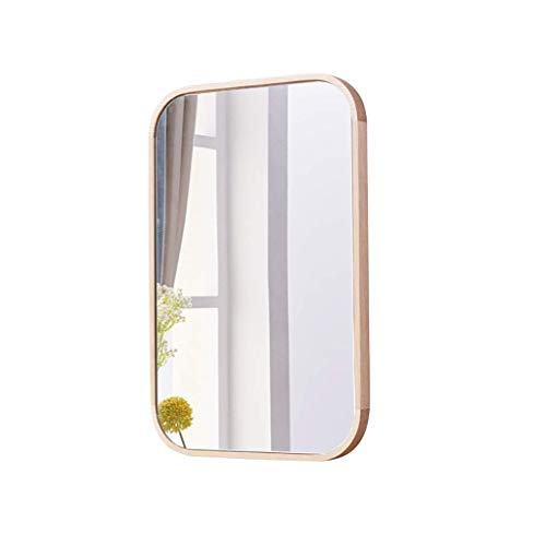 SDK Wall Mirror Wall Mounted Vanity Rectangle Wood Frame Modern Rounded Bathroom Wall Fixing Hardware 40CMx60CM