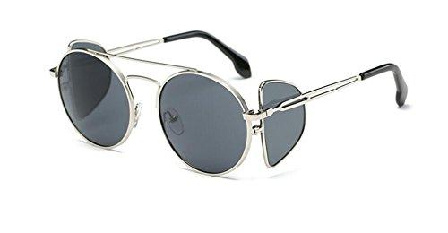 sol de americano GLSYJ europeo de cuatro LSHGYJ de gafas black gafas personalidad Silver lentes Moda sol gafas frame sheet sol tendencia y estilo de gray w6qn4C
