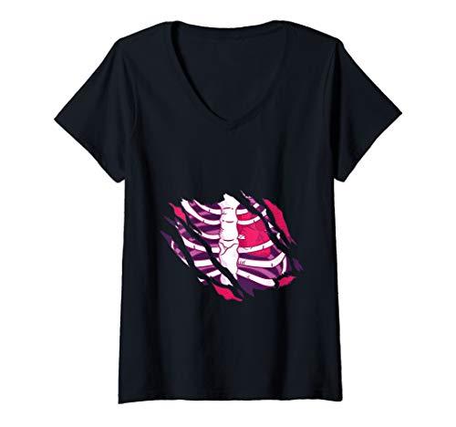 Womens Funny Zomby Horror Monster Halloween V-Neck T-Shirt