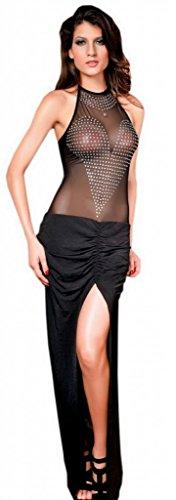 Bigood Robe Fendue Femme Cristal Longue Transparent Soirée Cocktail