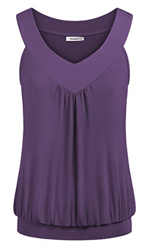 Sixother Womens Blouses and Tops for Work Scoop Neck Half Sleeve Plain Cozy Pleat Tunic Pullover Drape Boho Long Shirt Tee for Special Occasion Soft Workout Exercise Tank Stretchy Swing Purple