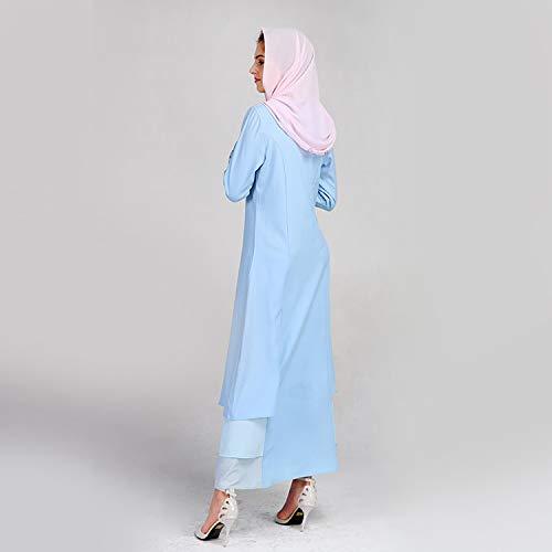 KIKOY Women's Muslim Summer Print Trumpet Sleeve Embroidery Elegant Swing Dress Blue by Kikoy muslim womens dress (Image #4)