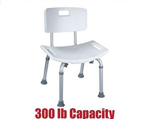 20 Chair Seat Inch - 300 lb. Elderly Bathtub Bath Tub Shower Seat Chair Bench Stool with Back Support