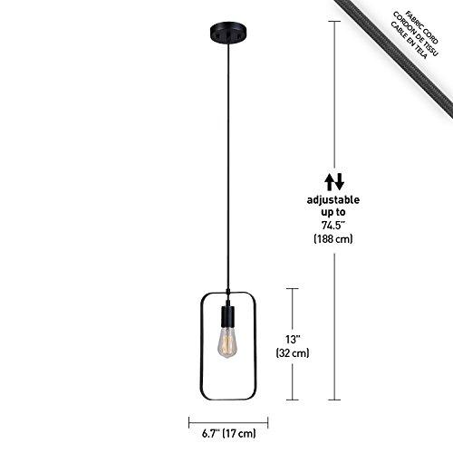 Globe Electric 65819 Finnley 1-Light Pendant Finish Cord, Matte Black
