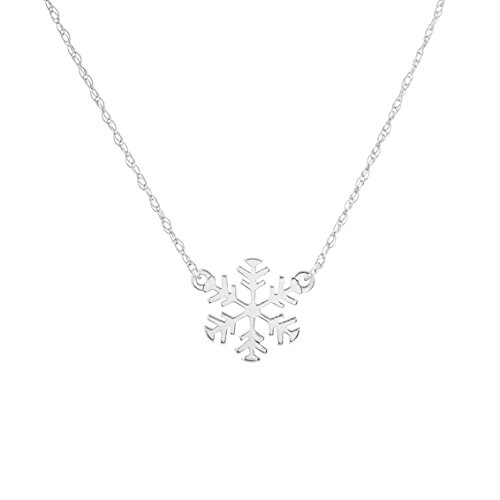 14k White Gold Mini Snowflake Necklace on an Adjustable 16-18 in. Chain