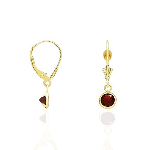 Earrings Garnet Topaz & Pink (14k Yellow Gold Round Bezel CZ Birthstone Dangle Drop Leverback Earrings 0.8