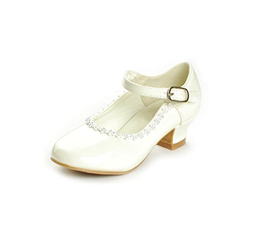DressForLess Rhinestone Detailed Patent Flower Girl Shoes, Ivory, Y1 (Ivory Shoes For Flower Girl)