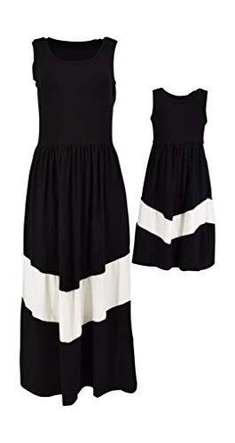 Unique Baby Mommy and Me Matching Chevron Dress (Adult Large) Black and White -