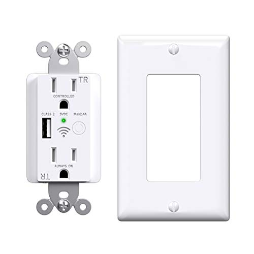 Smart Outlet, Wifi Plugs with One USB Charger Outlet, Enabled Smart Plug in-Wall Tamper Resistant Smart Outlets that…