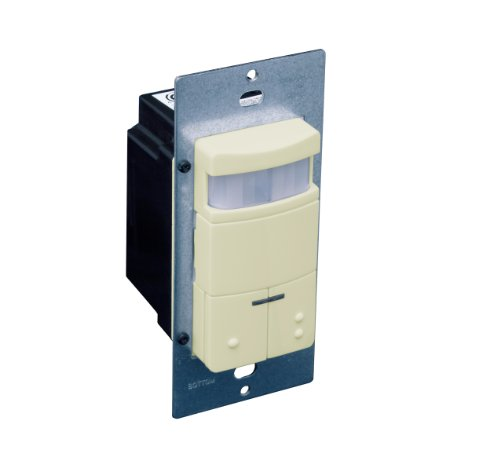 Leviton ODS0D-IDI Dual-Relay, Decora Passive Infrared Wall Switch Occupancy Sensor, 180 Degree, 2100 sq. ft. Coverage, Ivory