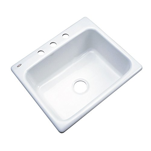 "Dekor Sinks 32300 Princeton Cast Acrylic Single Bowl Kitchen Sink-3 Hole, 25"", White"