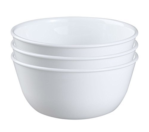 Corelle Coordinates Corelle Livingware Super Soup/Cereal Bowl, 28 oz, Winter Frost White, Set of 3 ()