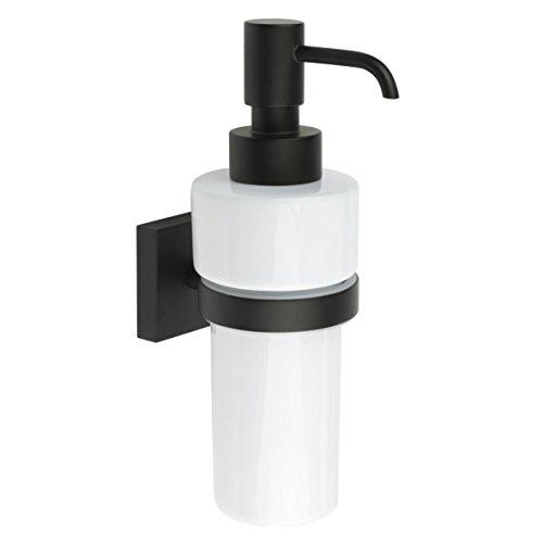 Smedbo House Bathroom Wall Mount Soap Dispenser Pump and Holder - Matte Black, White Ceramic - Smedbo Brass Soap Dispenser