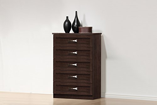 Baxton Studio Wholesale Interiors Colburn 5 Drawer Wood Tallboy Storage Chest, Dark Brown