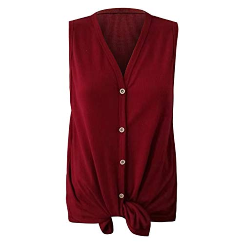 Womens Waffle Knit Tunic Blouse Tie Knot Henley Tops Loose Fitting Bat Wing Plain Shirts (Wine, XXL) by Tanlo (Image #4)
