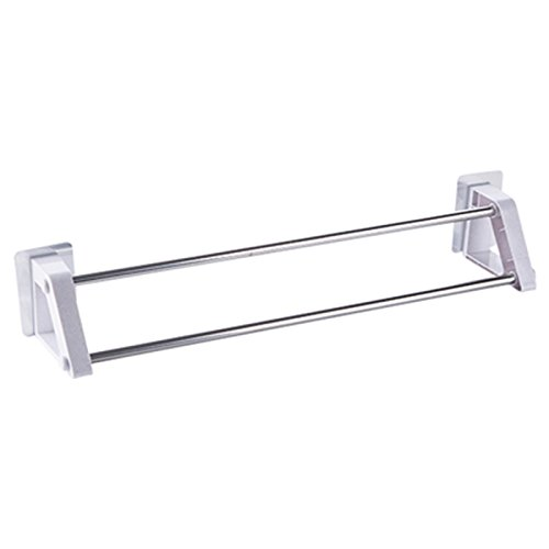 Strong Seamless Sticker Double Rod Towel Rack Stainless Steel Towel Rack Bathroom Hanging Towel Bar Toilet Nailless Drill Free White