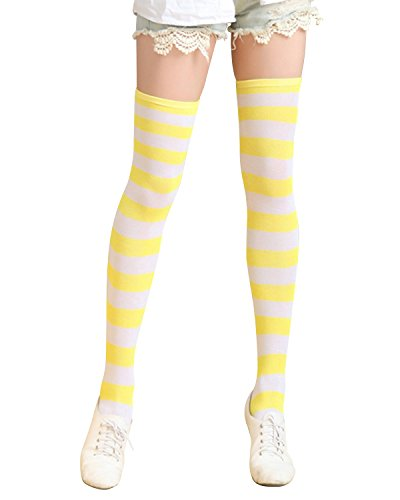 ZANZEA Womens Thigh High Socks Over the Knee Stocking Striped Tights Yellow Medium