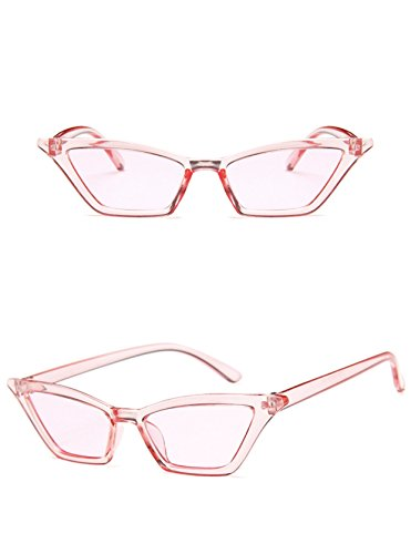 W&Y YING Small Frame Skinny Cat Eye Sunglasses for Women Colorful Mini Narrow Square Retro Cateye Vintage Sunglasses ()