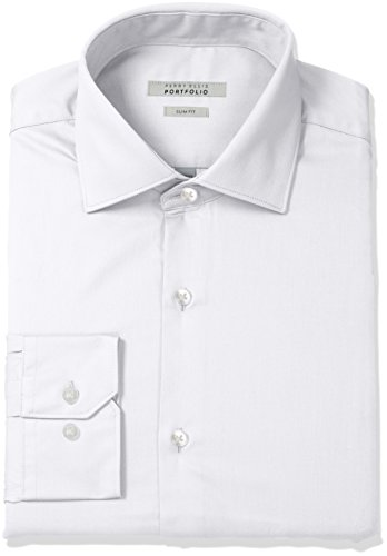 Perry Ellis Men's Slim Fit Wrinkle Free Solid Twill Dress Shirt with Adjustable Collar, White, 16.5