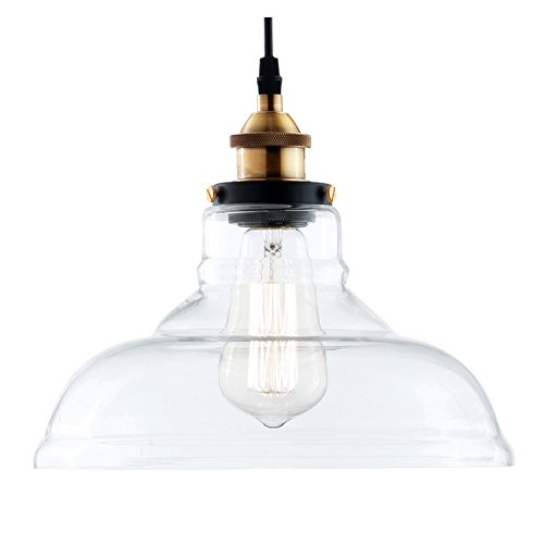 - Light Society Classon Edison Pendant Light, Clear Glass Shade with Brushed Bronze Finish, Vintage Modern Industrial Lighting Fixture (LS-C171)