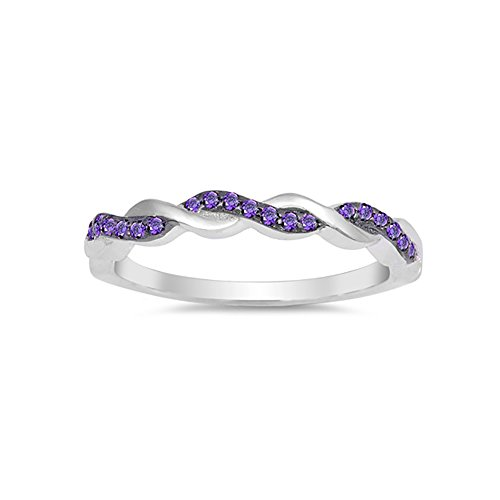 Half Eternity Infinity Twisted Band Ring Round Simulated Purple Amethyst 925 Sterling Silver