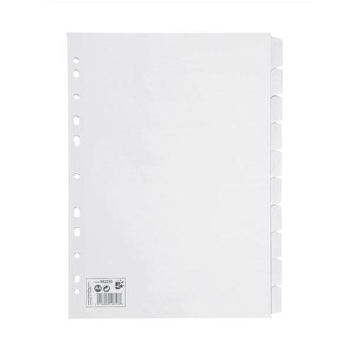 5 Star Subject Dividers Multipunched Manilla Card 10-Part A4 White (Pack of 10) 932230
