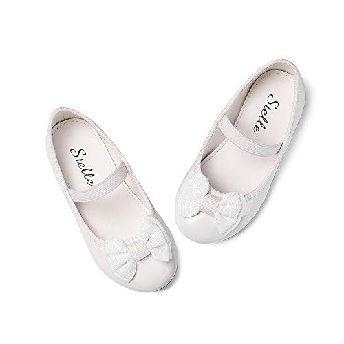 (STELLE Girls Bow-Knot Mary Jane Shoes Slip-on Party Dress Flat for Girls (White,)