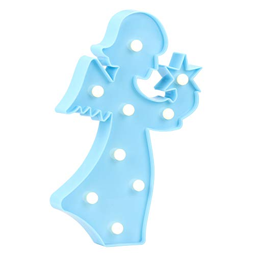 Ayoo Angel LED Night Light,Angel LED Battery Light, Wall Decoration [Party Light] Living Room,Kids Room,Bedroom Table,Holiday Birthday Party LED Lamp Light-Blue Angel -