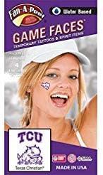 Texas Christian University (TCU) Horned Frogs – Water Based Temporary Spirit Tattoos – 4-Piece – 2 Purple/White TCU Logo & 2 Purple Super Frog Logo