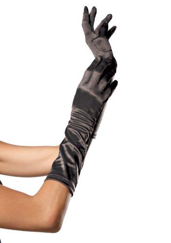 Leg Avenue Women's Elbow Length Satin Gloves, Black, One Size