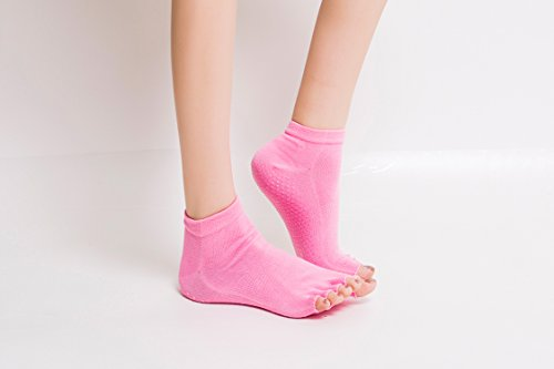 AYAOQIANG 5 Pairs Yoga Socks for Women & Men(Black+Purple+Pink+Beige)