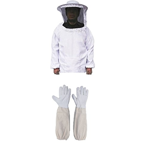 Farmunion Protective Bee Keeping Jacket Veil Suit +1 Pair Beekeeping Long Sleeve -