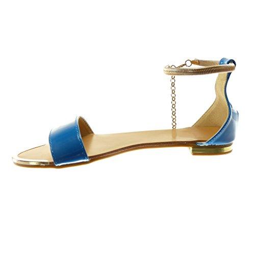 Angkorly Damen Schuhe Sandalen - Knöchelriemen - Kette - Golden - String Tanga Blockabsatz 1.5 cm Blau