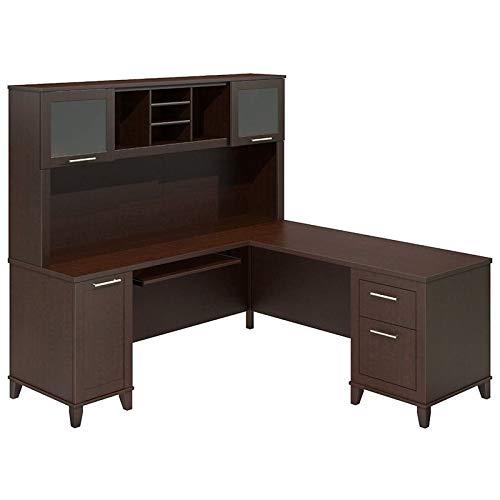Bush Furniture Somerset 71W L Shaped Desk with Hutch in Mocha Cherry