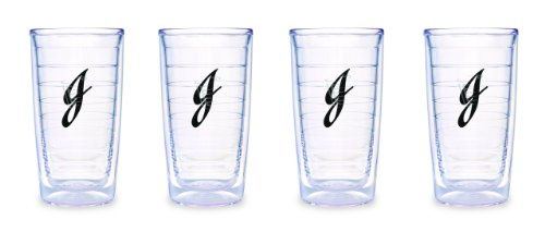 (Tervis Tumbler Black Laser Twill Initial - J 16-Ounce Double Wall Insulated Tumbler Set of 4)